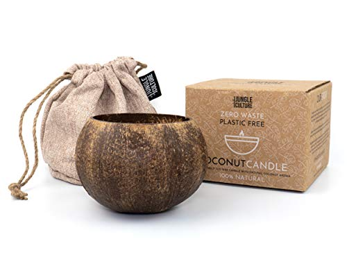 Jungle Culture Toasted Coconut Scented Organic Soy Wax Candle   Luxurious Eco-Friendly Crackling Candles   Natural Cotton Gift Bag   Infused Relaxing Fragrance   Vegan Friendly   50 Hour Burn Time