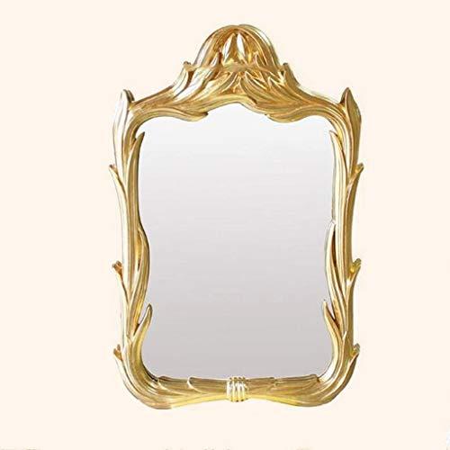 QXHELI spiegel – Europees hars neoklassieke wastafelspiegel voor de muur aan de spiegel Creative Square Hotel woonkamer open haard decoratie spiegel (kleur: retro goud)