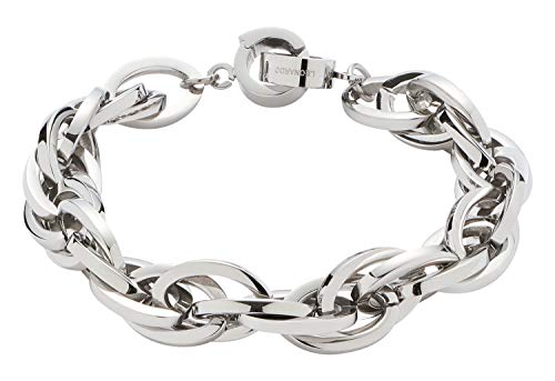 JEWELS BY LEONARDO DARLIN'S Damen-Armband Plait, Edelstahl mit Maxi-Clip, CLIP & MIX System, Länge 205 mm, 013954
