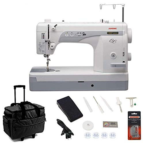Janome 1600P-QC Sewing/Quilting Machine Bundle with Rolling Trolley, Straight Stitch Foot and Plate
