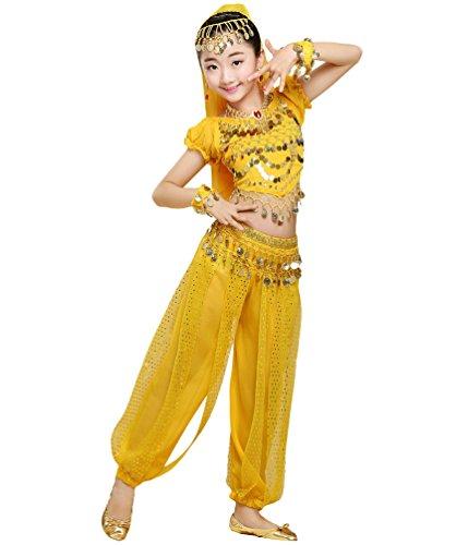 Anguang Mädchen Bauchtanz Kostüme Kinder Mode Halloween Tanz Hosenanzug Gelb#3 L