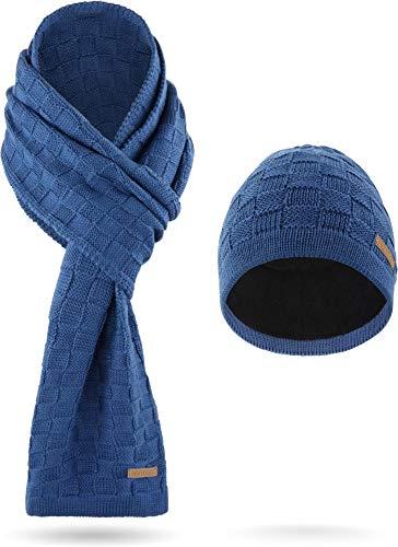 normani Grobstrick Winterset Schal und Mütze mit Fleece aus Merinowolle weich & warm Farbe Marine