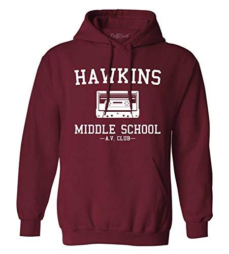 Hawkins Middle School AV Club Hoodie/Hooded Sweatshirt Sweater - Unisex Fit (Large, Maroon)