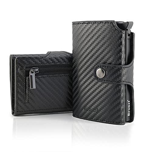 Portafoglio Bronzi® Portafoglio Uomo Slim - In Pelle Marrone - Porta Carte Credito - Portacarte uomo - Mini Porta Tessere (Carbon Nero)