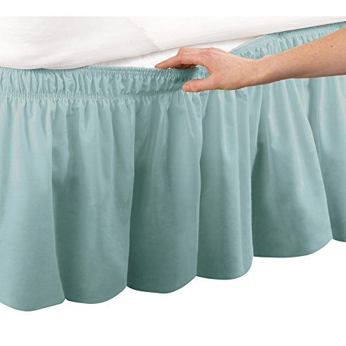Collections Etc Wrap Around Bed Skirt, Easy Fit Elastic Dust Ruffle, Green, Queen/King