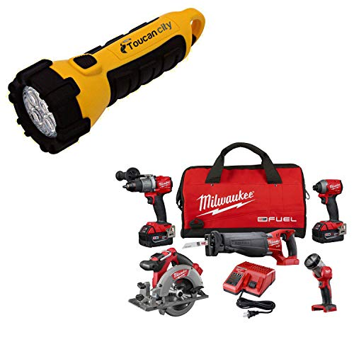 Toucan City LED Flashlight and Milwaukee M18 FUEL 18-Volt Lithium-Ion Brushless Cordless Combo Kit (5-Tool) W/ (2) 5.0 Ah Batteries, (1) Charger, (1) Tool Bag 2997-25