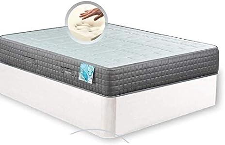 MI CAMA ME LLAMA ESPECIALISTAS EN DESCANSO Canapé de Madera Cheap + Colchón viscoelástico Reversible Premium - Montaje Incluido (Blanco, 150x190)