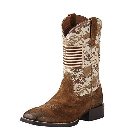 Ariat Men's Sport Patriot Western Cowboy Boot, Antique Mocha Suede, 9.5 D US