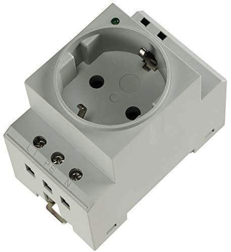 Steckdose für Hutschiene Schaltschrank mit LED 230V/16A VDE Schutzkontakt-Steckdose für Verteilerschrank Sicherungskasten