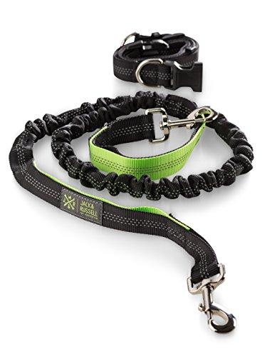 Jack & Russell hondenjoggingband met heupriem - zwart-neon groene hondenriem elastiek 1,5 m - 2,0 m - Sportband (Zwart/niet-groen)