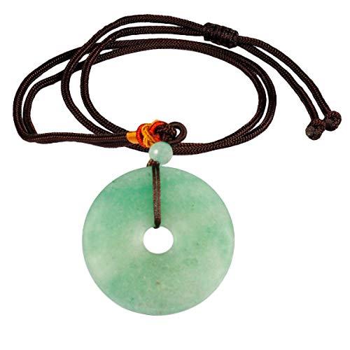 mookaitedecor Münze Donut Stein Halskette für Frauen und Männer, Unisex Glücksbringer Amulett Anhänger mit Kette 32-34 Zoll