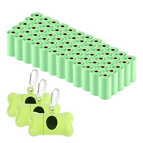 Bolsas Caca Perro Biodegradables con Dispensador, 900 Bolsas para Excrementos Perros Hecho de Almidón de Maíz
