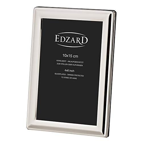 EDZARD Bilderrahmen Terni für Foto 10 x 15 cm, edel versilbert, anlaufgeschützt, mit Samtrücken, inkl. 2 Aufhängern, Fotorahmen zum Stellen und Hängen