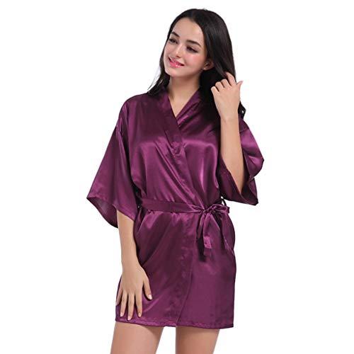 Kamerjas Robe Vrouwen Kimono Robes Satin Pure Color Korte Kapsel Van Schuine V-hals Robe Badjas Nachtjapon Nachtkleding Bridesmaids Badjassen S - XXL (Color : Dark purple, Size : XL)