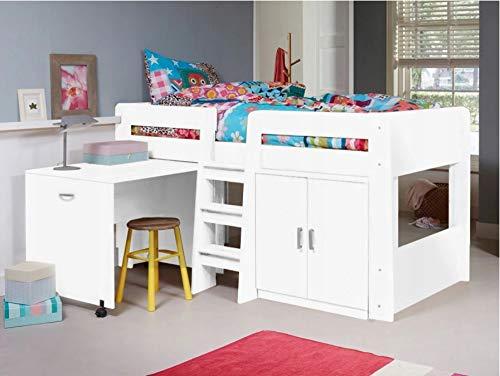 KRYSPOL Etagenbett für Kinder Funky Stockbett mit Treppe, Kleiderschrank und Schreibtische auf Rädern (Weiß Matt)