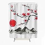 Kirschblüte Sonne Berge Duschvorhang Anti-Schimmel Antibakteriell Polyester Badewanne Vorhang mit Haken Weiß 180x200cm