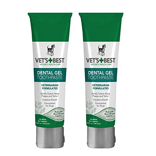 Dog Dental Care Gel Toothpaste Plaque and Tartar Fighter from Vet's Best Pack of 2 Total 7 ounce Made in USA