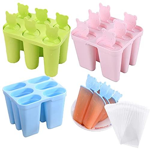 Mengger 4Pcs Molde para Helados de silicona paletas chocolate hielo moldes para polos y helados bebes Reutilizables Ice Cream Lolly Moulds para Hacer Helados Caseros, Sin BPA