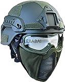 La Nueva Versión del Juego De Casco Táctico ACH, Máscara De Red Airsoft De Media Cara con Protección para los Oídos Y Gafas Tácticas, Utilizadas para Deportes Al Aire Libre Airsoft Paintball