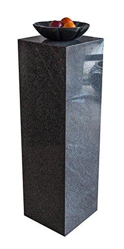Colonne en granit rare, gris foncé, fabriquée à la main et très stable, polyvalente comme socle pour sculptures, bustes, vases, ou socle de galerie, colonne de fleurs, décoration et colonne à bijoux, simple et idéal pour le salon, la terrasse, le balcon ou le jardin, H/L/L : 100 x 30 x 30 cm, poids : env. 50 kg.