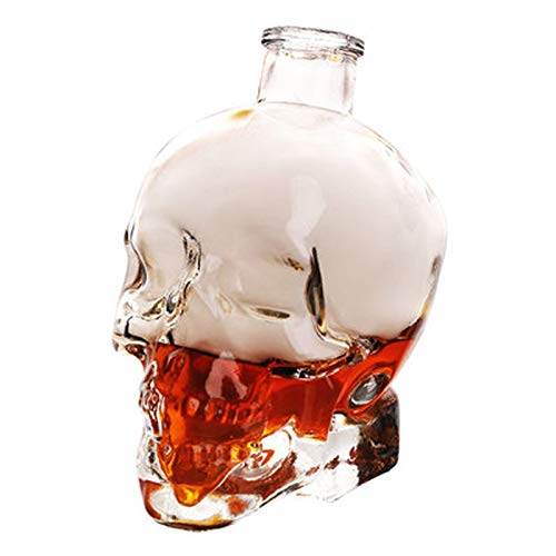 GAOXIAOMEI Whiskey Decanter Crystal Skull Head Vodka Shot Whiskey Wine Drinking Glass Bottle Decanter Skull Shaped Wine Bottle (200 Ml, Transparent)