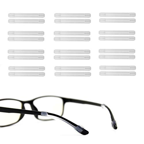 Soft Silicone Eyeglasses Temple Tips Sleeve Retainer,Anti-Slip Elastic Comfort Glasses Retainers For Spectacle Sunglasses Reading Glasses Eyewear (12Pairs) (Clear)