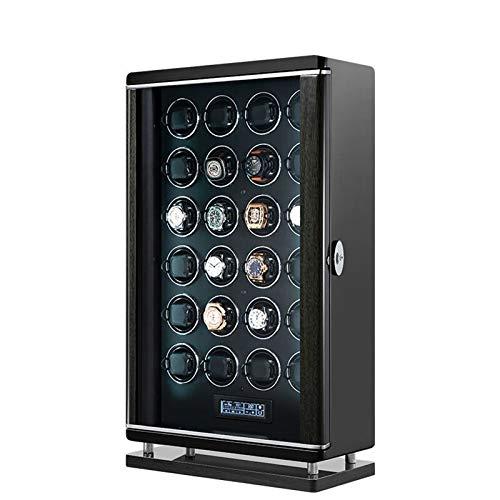 zyy Caja Giratoria para Relojes 24 Automatico Relojes LCD con Panel Táctil Desbloqueo de Huellas Dactilares con Mando A Distancia Motores Silenciosos Iluminación LED 6 Velocidades