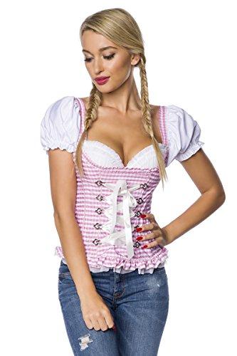 Dirndline Damen Trachtenmieder Miederbluse Trachten Mieder Corsage Bluse Kariert mit Push-up Rosa Pink Weiß Karo S