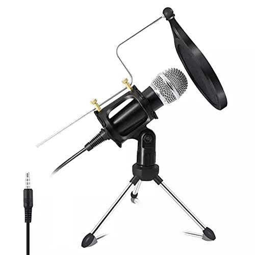 DUTTY Micrófono de Condensador de grabación, micrófono para teléfono móvil, micrófono para Ordenador, Soporte para micrófono de Karaoke