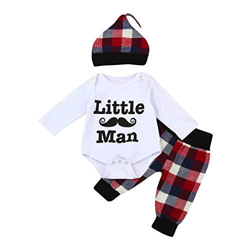 Evansamp Baby-Outfit für Jungen, mit Plaid-, Langarm-Strampler + Hose und Mütze, Kinder, weiß, 6 Monate