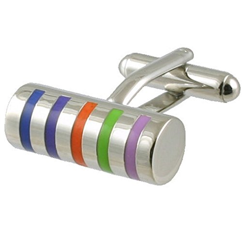 Cuff links Rainbow Cufflinks~various pattern colour stripe cylinder Select...