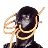 Latex Rubber Mask Hood Mask with Breathing Tube 0.4mm Wear for Party Sex Club (L) Black