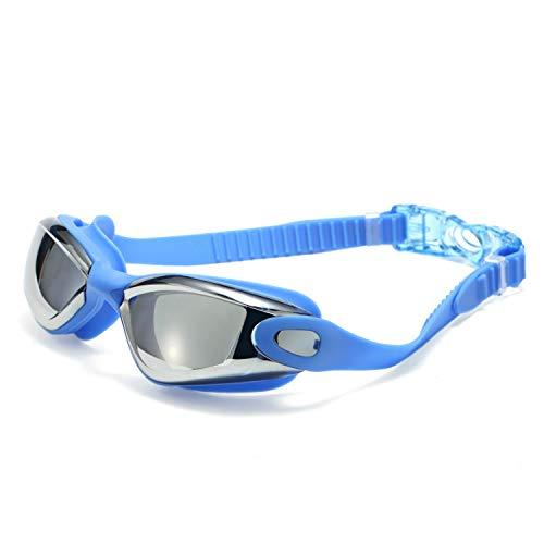XXYHYQHJD Schutzbrille Schwimmbrille Schwimmbrille angebracht Keine undichten Anti-Fog-UV-Schutz kostenlose Aufbewahrungskoffer for Erwachsene Männer Frauen (Color : Blau, Size : Kostenlos)