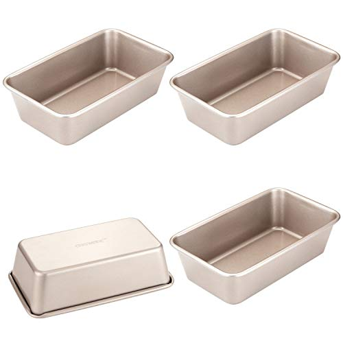 CHEFMADE Mini Loaf Pan Set, 6-Inch 4Pcs Non-Stick Rectangle Bread and Meat Bakeware, FDA Approved for Oven and Instant Pot Baking (Champagne Gold)