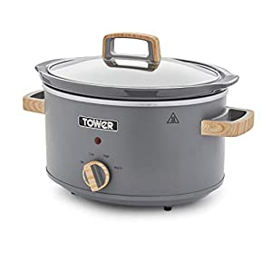 Tower Scandi 3.5 L Stainless Steel Slow Cooker with 3 Heat Settings and Removable Pot
