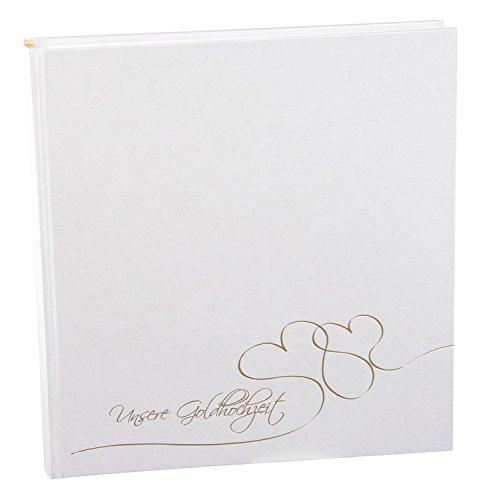 Goldbuch 08304 Goldhochzeitsalbum Cuore, 60 Seiten mit Pergamin, ca. 30 x 31 cm