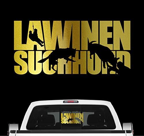 Siviwonder Lawinensuchhund Hundesport Auto Aufkleber Hund Folie Rettungshund Bergwacht Farbe Gold Metallic, Größe 100cm