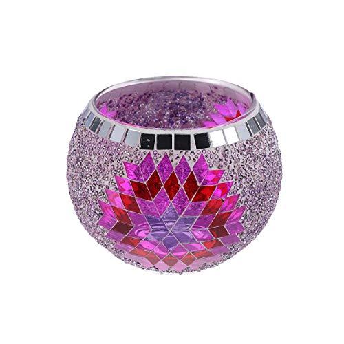 Vosarea Glas-Kerzenhalter im europäischen Stil, handgefertigt, Mosaik-Kerzenhalter für Teelicht, Zuhause, Restaurant, Dekoration