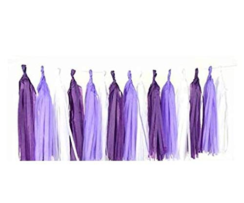 3 Pack 15 Pcs 14 inch Mixed Lavender Dark Purple White Tissue Paper Tassels Garland Wedding Banner Bunting Party Birthday Bridal Shower Decor Event Party Supplies Mermaid Party Decorations