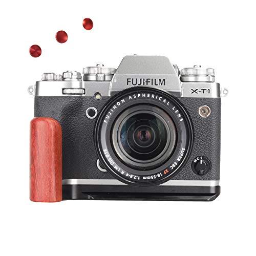 WEPOTO GP-XT1R赤檀木製カメラグリップメタルブラケットハンドルL-ブラケット Fujifilm 富士X-T1適用