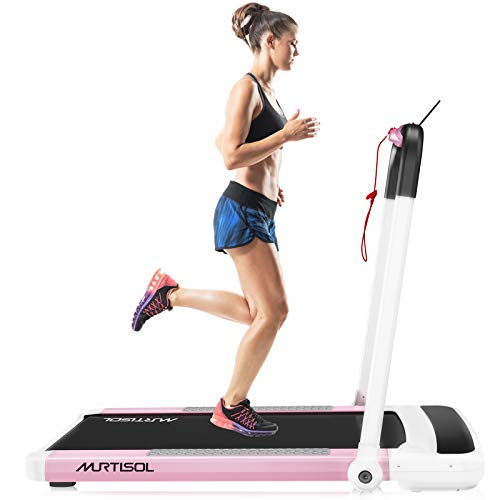 Murtisol 2 in 1 Folding Treadmill, 2.25HP Under Desk Electric Treadmill, Installation-Free with APP, Remote Control and LED Display, Portable Walking Machine for Home, Office & Gym,Pink & White