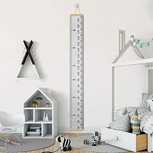 ECHG Messlatte Kinder, Holz Höhe Wachstum Diagramm Aufrollbare Aufhängen Messlatte Lineal Abnehmbar Leinwand Baby Messtabelle für Kinderzimmer Schlafzimmer Wanddekoration(Grau)