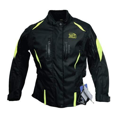 HHH SPORTS WEARS Chaqueta Moto Mujer Touring Protecciones (hombros y codos) (XL, Amarillo)