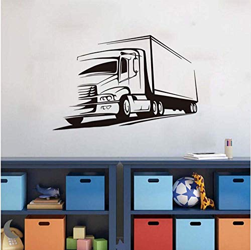 Muurdecoratie sticker vinyl Big Lorry muursticker papier educational truck sjabloon kinderkamer home decoratie voor kinderen Art Mural89 * 58cm