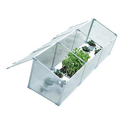 Outsunny 71' Aluminum Vented Cold Frame Mini Greenhouse Kit - Silver/Transparent