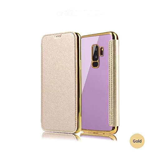 Sycode Flip Hülle für Galaxy S9, Gold Buchstil Überzug Zurück Cover mit Pu Leder Brieftasche für Samsung Galaxy S9-Gold
