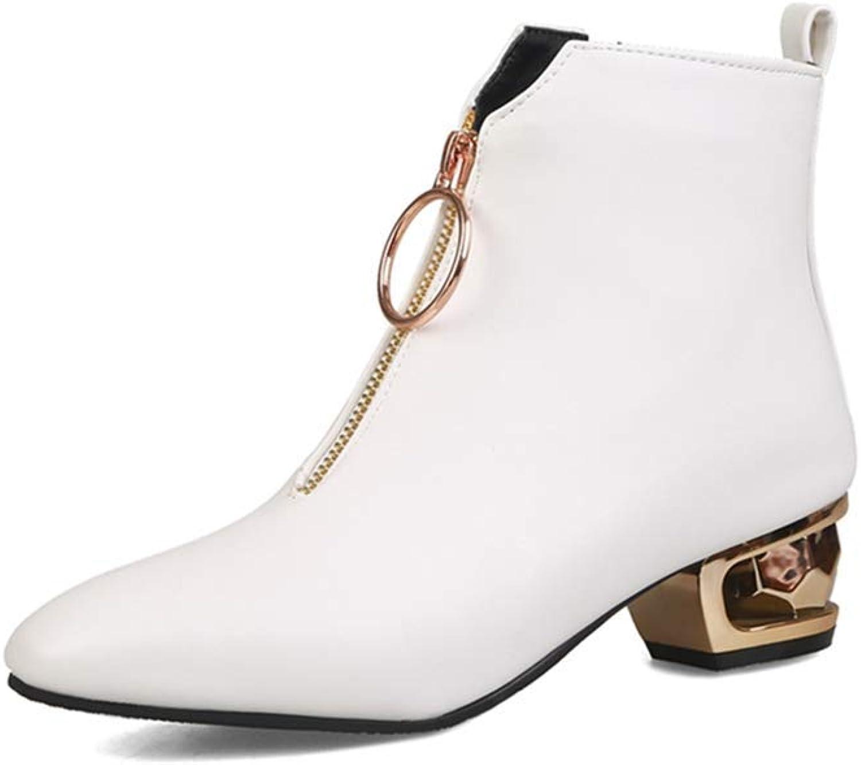 Beautiful - Fashion Women's Fashion Dress Ankle Boots Square Toe Metallic Zipper Sparkle Low Heel Chelsea Short Booties
