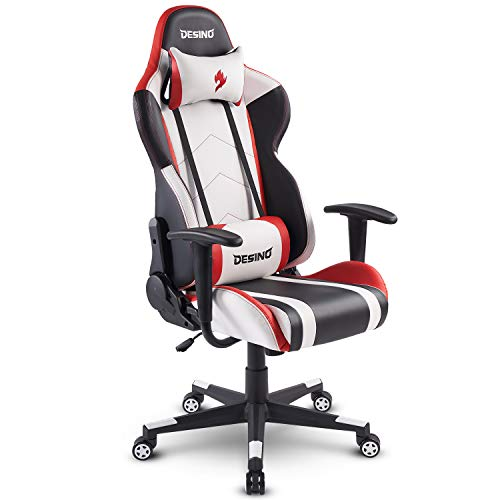 DESINO Gaming Chair Racing Style Home & Office Ergonomic Swivel Rolling Computer Chair with Headrest and Adjustable Lumbar Support (White)
