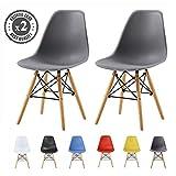 MCC Set of 2 Modern Design Dining Chairs Eiffel Retro Lounge Chairs, LIA (Grey)