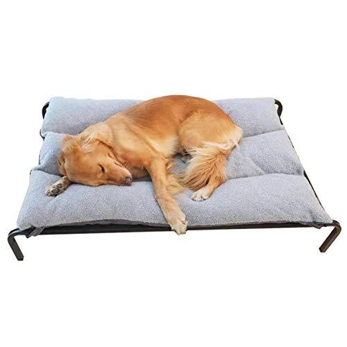 Cama Perros Cama Elevada Cómoda para Perros, Sofá Portátil para Mascotas con Colchón Extraíble y Lavable, Marco de Acero Negro + Cojín Gris (Size : L 102×69×21cm)
